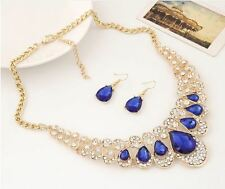 CHUNKY ROYAL BLUE ENCRUSTED DIAMANTE CRYSTALTEAR DROP NECKLACE & EARRING SET