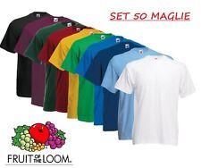 SET 50 Pezzi T-Shirt Fruit Of The Loom 100 % COTONE MAGLIE Colori Stock Lavoro