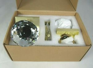 HIEMEY Square Glass Crystal Door Knobs Set