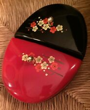 VTG Trinket Box Japan Lacquer Flowers Compartments Vanity Dresser