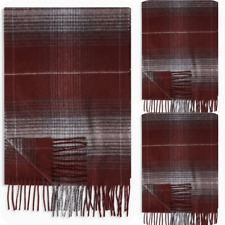 BNWT Ex Next Men Burgundy check Scarf winter gift accessories one size cosy warm