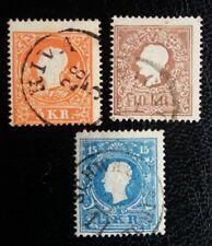 1858-AUSTRIA-3 valori usati-Francesco Giuseppe I.Tipo 1-