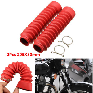 2Pcs Red Motorcycle Front Rubber Gaiter Boots Fork Shock Absorber Dust Cover Kit