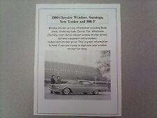 1960 Chrysler big-car factory cost/dealer sticker prices for car & options $ 60