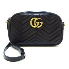 Auth GUCCI GG Marmont Quilting Small Shoulder Bag 447632 Black