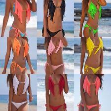 Tassel Bikini Fringe Padded Scrunch Back Bottom Single Rise Swimsuit Swimwear 33