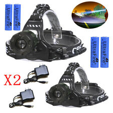 2 X Ultrafire Tactical T6 18650 15000LM Hunting Led Headlight Battery+Charger