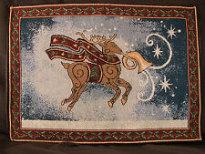 """Set of 4 Christmas Holiday Tapestry Table Placemats Reindeer 13"""" X 18 1/4""""  #CH3"""