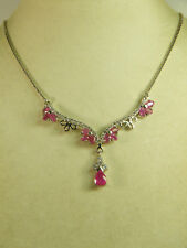 NECKLACE: NATURAL MOZAMBIQUE RED RUBY PEAR & OVAL WH ZIRCON 925 STERLING SILVER