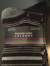 Package Of 6 ALEXANDER JULIAN Men's Dress Crew Socks Size 10 - 13 Stripes Black