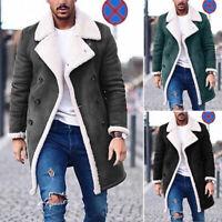 Men's Winter Warm Lapel Faux Fur Jacket Plush Overcoat Long Outwear Parka Coat