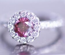 1.5 Cts Pink RD Solitaire Halo Ring for 14K WG Valentine Day Spl.Sale