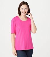 Denim & Co. Essentials Jersey Elbow-Sleeve Scoop-Neck Top - Tulip Pink - Large