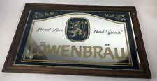 Vintage Lowenbrau Beer Mirror Bar Mancave 32x21 Glass Framed 1970's Dark Special