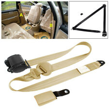 Beige 3 Point Retractable Car SUV Safety Seat Belts Lap With Curved Rigid Buckle