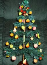 """58 Vintage Mini Painted/Sparkly Fruit Ornaments W/ 19"""" Feather Tree"""