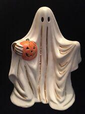 Vintage Dept 56 Halloween Porcelain Ghost Holding A Pumpkin
