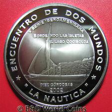 2002 NICARAGUA 10 CORDOBAS SILVER PROOF SAIL BOAT NAUTICA IBERO AMERICA 40mm RRR