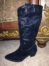 Roper Cowgirl Boots Cross Cut Out Black 7