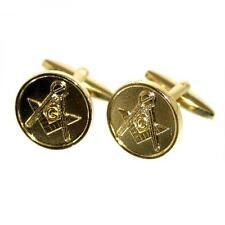 Masonic Golden Coin Style Cufflinks Mason Lodge Cruise Formal Present Gift Box