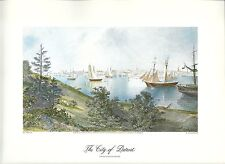 VINTAGE  PRINT OF EARLY PICTURESQUE AMERICA - 1874 - THE CITY OF DETROIT