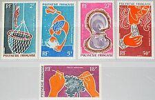 FRENCH POLYNESIA POLYNESIEN 1970 115-19 C57-61 Pearl Industry Perlen Austern MNH
