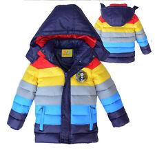 NWT autumn winter boy striped rainbow color warm jacket coat navy Sz 6