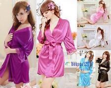 Sexy Women Grown Sleep Ware Rayon Silk Sleepwear Nightdress Robes Pajamas Jя