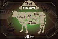 Beef Rind Exclusive Menu Blechschild Schild gewölbt Metal Tin Sign 20 x 30 cm