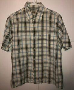 MEN'S POLO RALPH LAUREN Jean's Co Brown & Blue Plaid Short Sleeve SHIRT Size XL