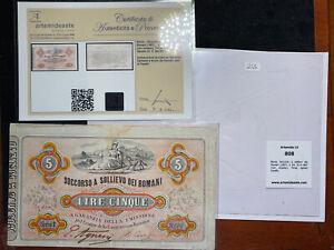 5 LIRE SOCCORSO A SOLLIEVO DEI ROMANI 30/04/1867 PERIZIATA - BANCONOTA ITALIA