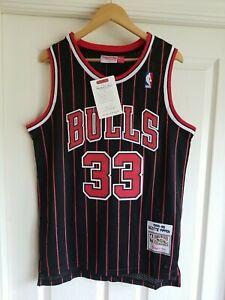 NWT Scottie Pippen Chicago Bulls Pinstripe Jersey Throwback Classic Retro MEDIUM