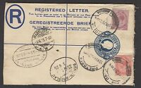 South Africa 1925 KGV 4d blue Registered Letter sent to Germany with KGV stamps