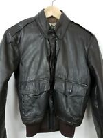 Vintage LL Bean Goatskin Leather A2 Bomber Jacket size 34 USA brown Thinsulate