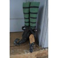 New Primitive Halloween Fabric Stuffed WITCH BOOT LEGS Green Black