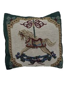 """Carousel Horse Tapestry Throw Pillow Accent  Pillow 12"""" X 12"""" Square Green"""