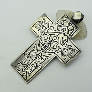 """Solid 925 Sterling Silver Large Cross Vintage Pendant Jewelry Size 3"""" TR-554"""