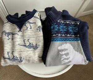 Gymboree Lot of 2 Boys' M 7 8 Dinosaur Pullover Sweatshirt Cardigan Sweater Navy
