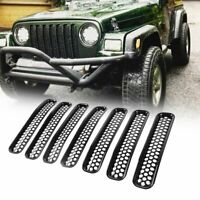 7PCS Honeycomb Mesh Front Grill Inserts for 1997-2006 Jeep Wrangler TJ Unlimited