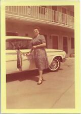 CAR LADY Woman FOUND PHOTO Color FREE SHIPPING Original Snapshot VINTAGE 910 10