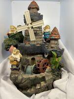 Rare & Unique - 3 Gnomes Castle Water Fountain w/ Moving Windmill & Water Wheel