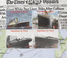 """TITANIC 6"""" x 5"""" THE TIMES DISPATCH REPUBLIQUE DU TCHAD 2011 MNH STAMP SHEETLET"""