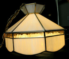Stained Glass Hanging Light Fixture Amber and Yellow Glass in Brass Came