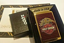 24Ct Gold Plated Zippo Petrol Refillable Harley Davidson Eagle Lighter Boxed 24K