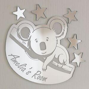 Koala Mirror Personalised Door Name Plaque Boy Girls Bed Room Sign