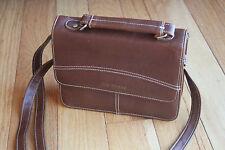 The Stone Brown Faux Leather Crossbody Shoulder Bag Satchel Organizer Purse