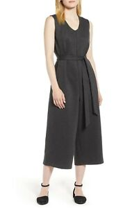 Eileen Fisher Charcoal Crop Melange Tencel Ponte Wide Leg Jumpsuit Medium $378
