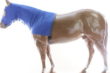Horse Hood Slinky Lycra Zippered Mane Braid Shoulder Guard Navy Medium