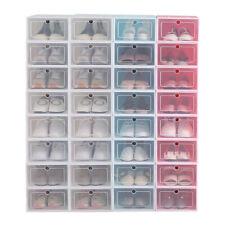 12-24pack Foldable Shoe Box Storage Plastic Transparent Case Stackable Organize