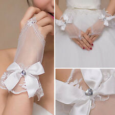 White Mesh Crystal Bow Sheer Gloves Wrist Bridal Prom Opera Wedding Formal Party